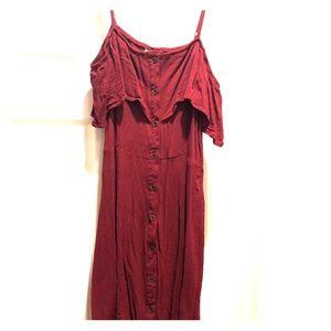 Maroon open shoulder dress